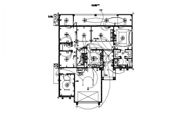 Electrical layout plan of the house with detail dimension