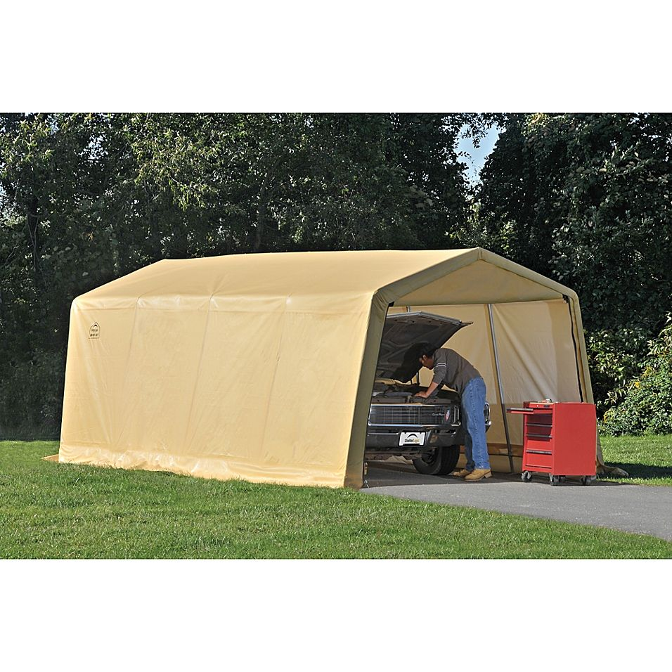 Shelterlogic Autoshelter 10' X 20' Instant Garage In Tan