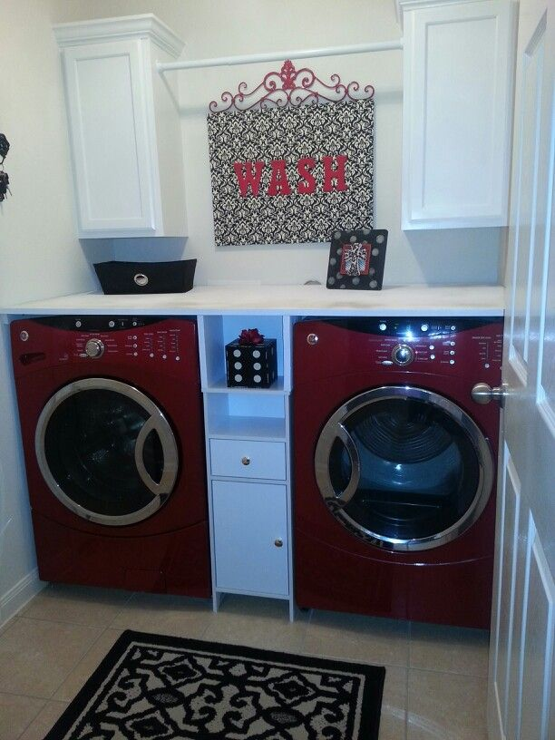 My New Red White And Black Damask Laundry Room My Husband Added The Cabinets And Board On Top The Cabinet Homemade Shelves Laundry Room Design Laundry Room