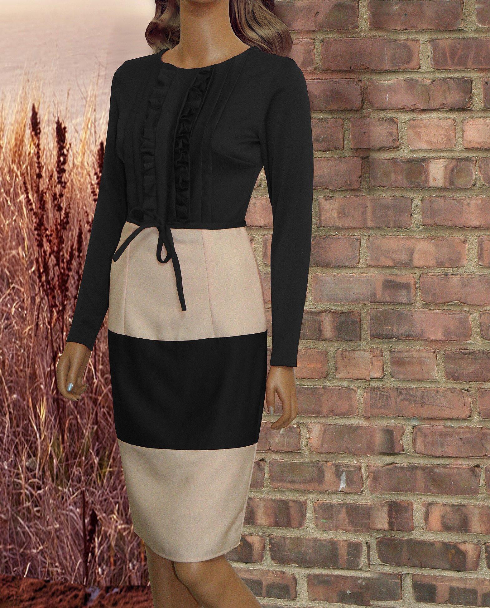 fed17728 Cardiff Nude & Black Knee Length Two Toned Dress #sheathdress  #modestfashion #modestweddingdress #modesty #modestwear #modestdress