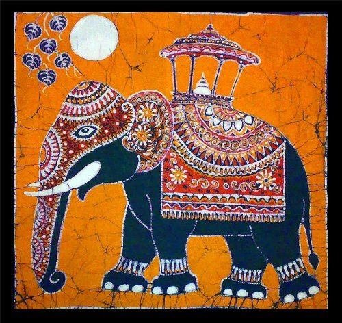 Elephant (Hand Made Batik Art) Orange