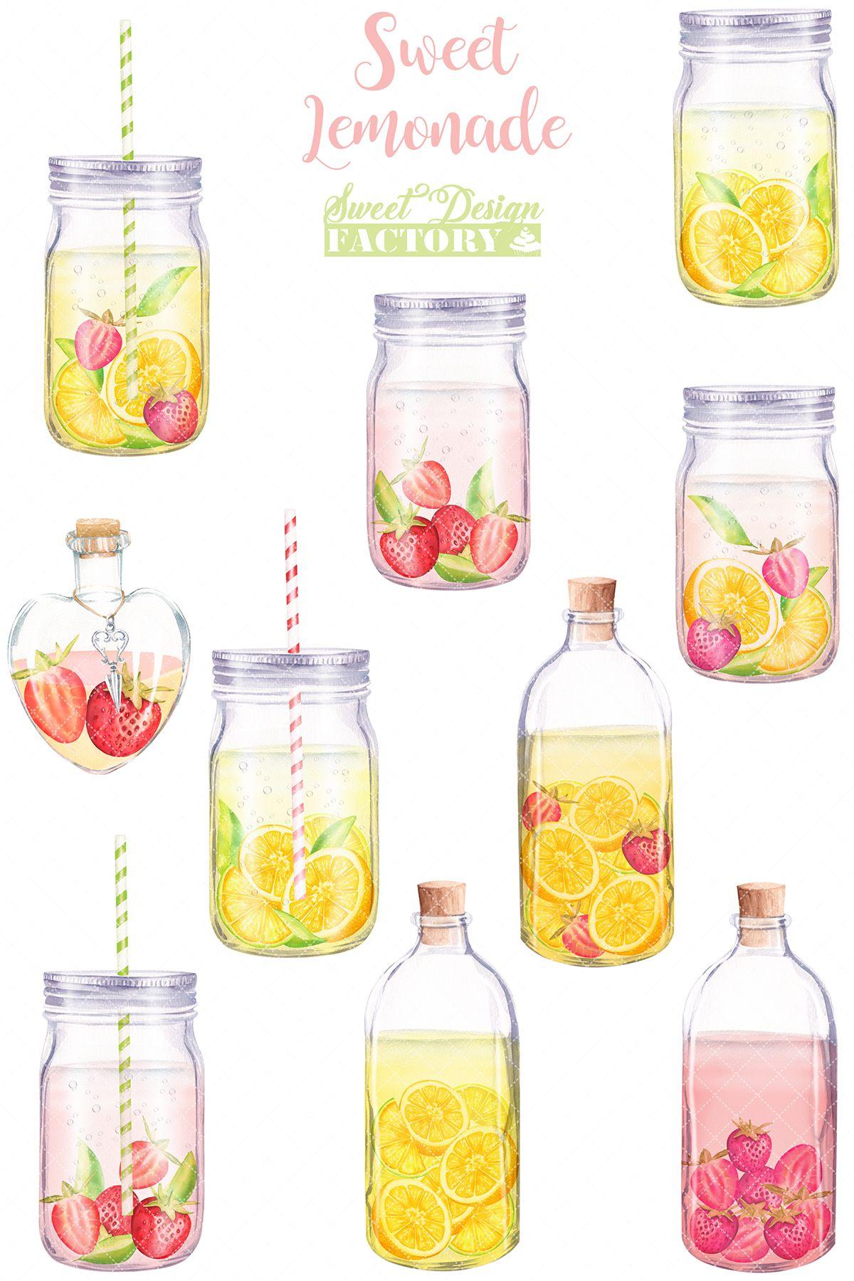 Lemonade Clipart Summer Clipart Lemon Watercolor Clipart Drink