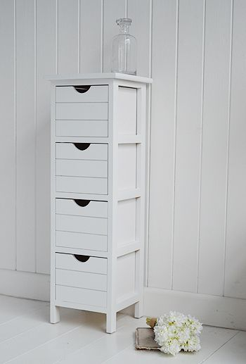Portland White Narrow Storage Bathroom Cabinet. A Four Drawer Free Standing  Storage Cabinet From The Portland Range Of Narrow Bathroom Cabinets  Delivered ...