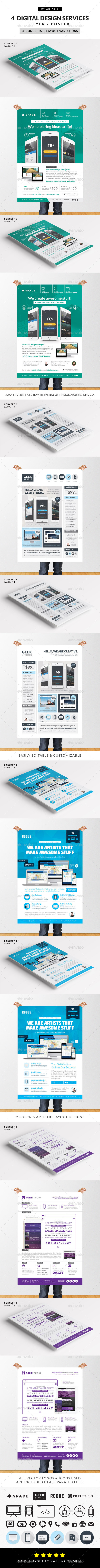 design web app graphic services flyer poster for these digital design website mobile application graphic services flyer poster templates is created for individuals