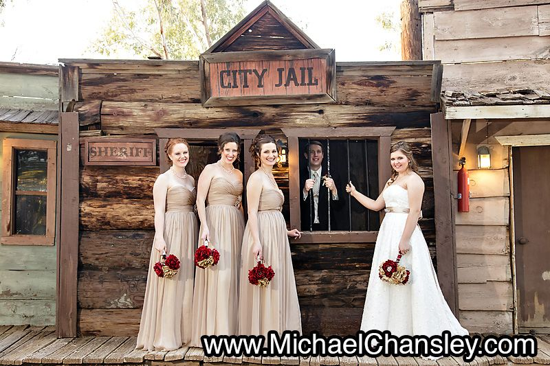 Bride And Groom Pose For A Fun Portrait With Bridal Party Photo At The Rockin R Ranch Wedding Venue In Mesa Phoenix Az Arizona By Michael Chansley