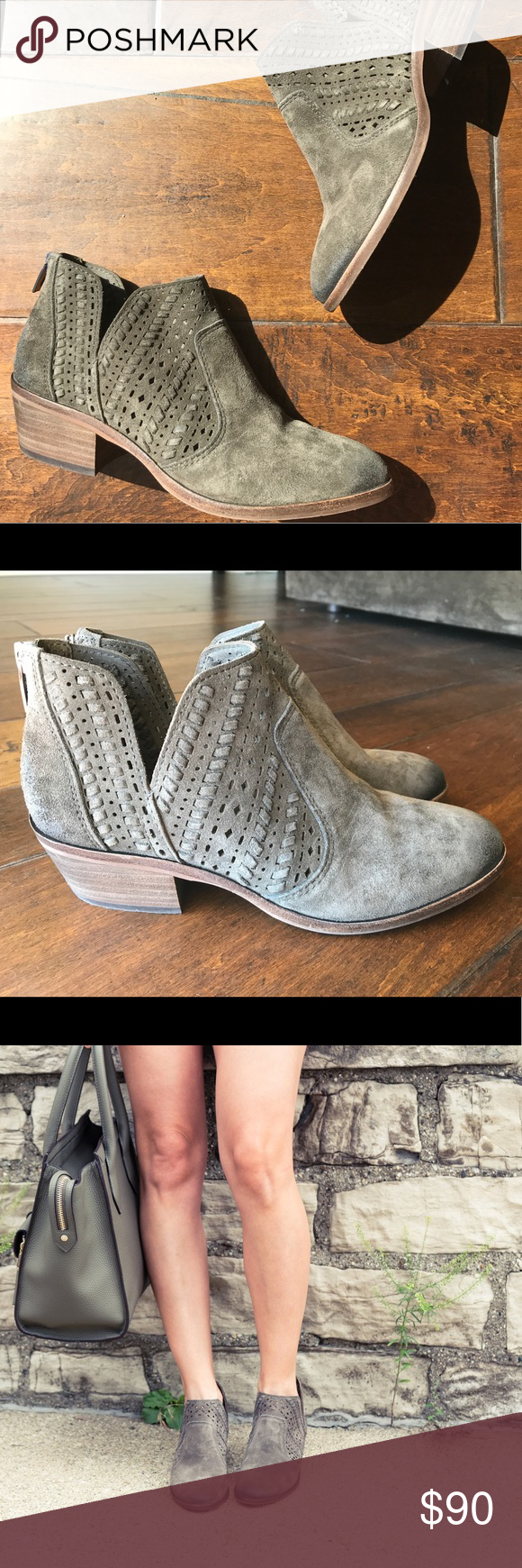 8a517e0f9a64 Vince Camuto Prasata Vince Camuto Prasata ankle booties. Great low heel  ankle booties in an