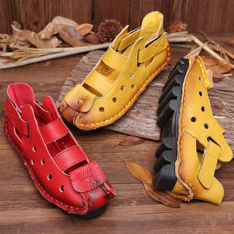 c8ccde1bf162 Mordenmiss Women s Summer Leather Huarache Sandals Ethnic Vintage Shoes