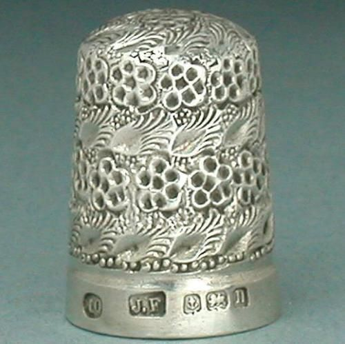 Antique Blackberry Sterling Silver Thimble English Hallmarked 1912. Sold on e-Bay 2-2016 for $543.99.