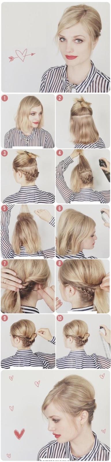 Chignon cheveux court Hairstyles Tutoriel coiffure