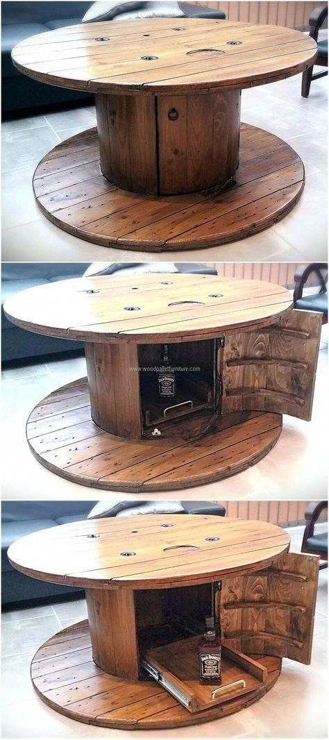 The table is necessary in every room of the home, so here is an idea to create a unique recycled wood pallets cable spool table for the TV launch to make it look amazing. The design is easy to copy and it will surely look amazing in any area of the home. #woodenFurniture #cablespooltables
