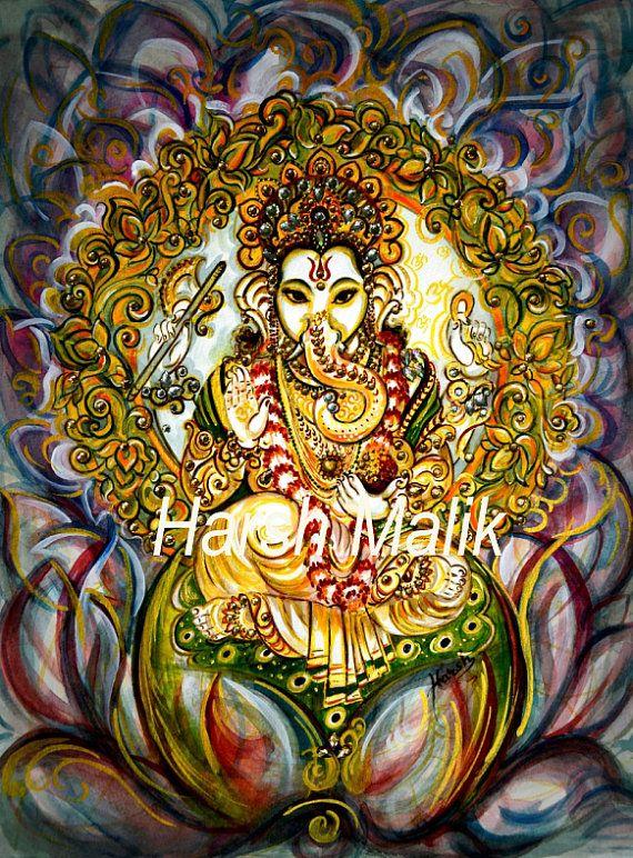 Contemporary Modern Impressionist Lotus Ganesha Indian | Etsy