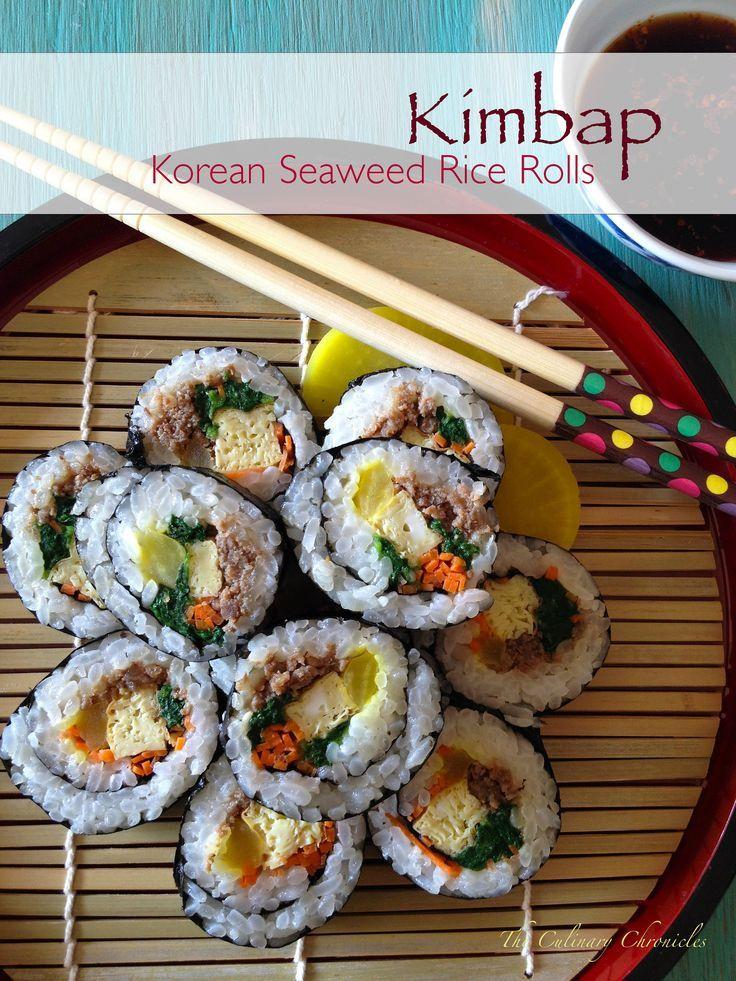 Kimbap Korean Seaweed Rice Rolls Kimbap Rice Rolls Korean Cooking
