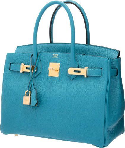 6569f4d643 Hermes 30cm Turquoise Togo Leather Birkin Bag with Gold Hardware ...