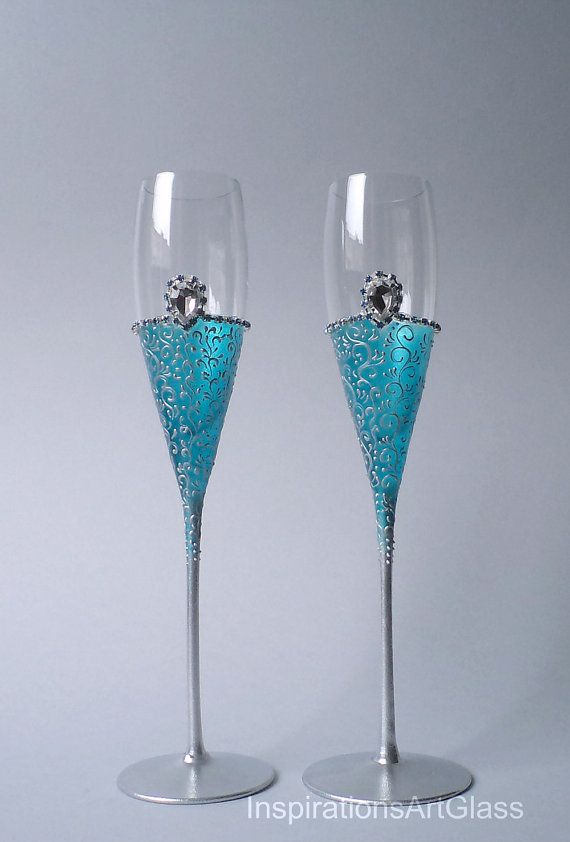 Wedding Glasses Teal Blue Toasting Flutes Champagne Turquoise Beach Set Of 2