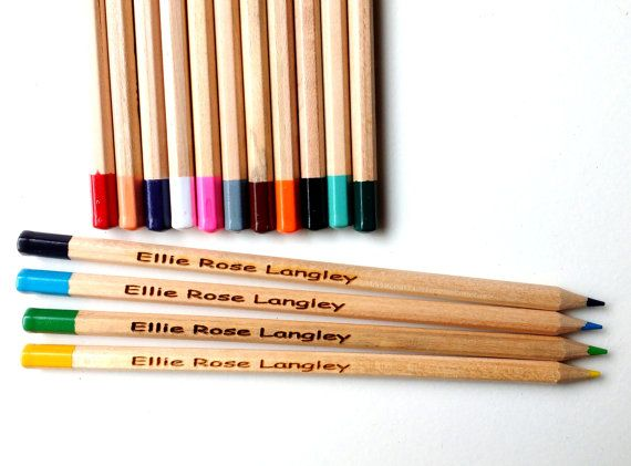15 Personalised wooden colouring pencils