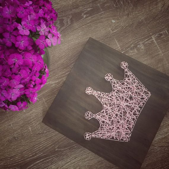 Wooden Princess Crown String Art Baby by HammerAndTwine on Etsy