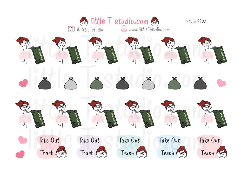 Busy Ballerina - Trash Day Reminder Stickers - Pick Your