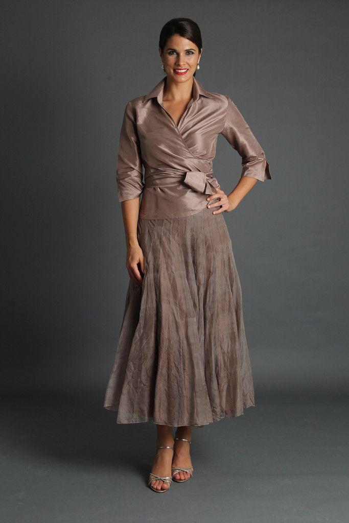 Bohemian Skirt Coffee Silk Clothing Tea Length