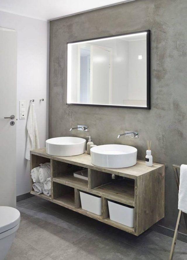 Idée décoration Salle de bain salle-de-bain-beton-cire-meuble-vasque ...