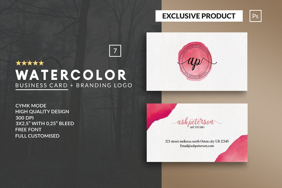 Personal Watercolor Business Card Watercolor Business Cards Business Cards Creative Templates Business Card Template Design