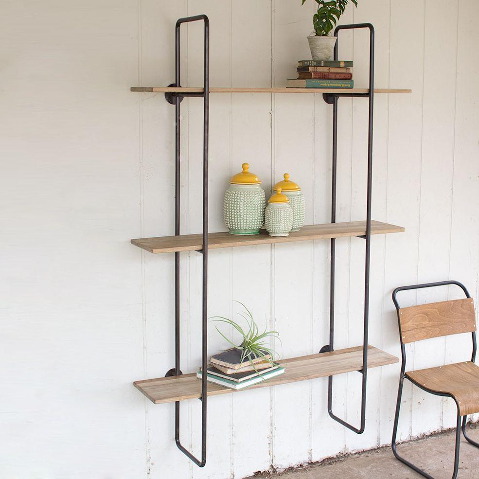 dakota open wall shelf dotandbo com wood shelving on wall shelves id=94446