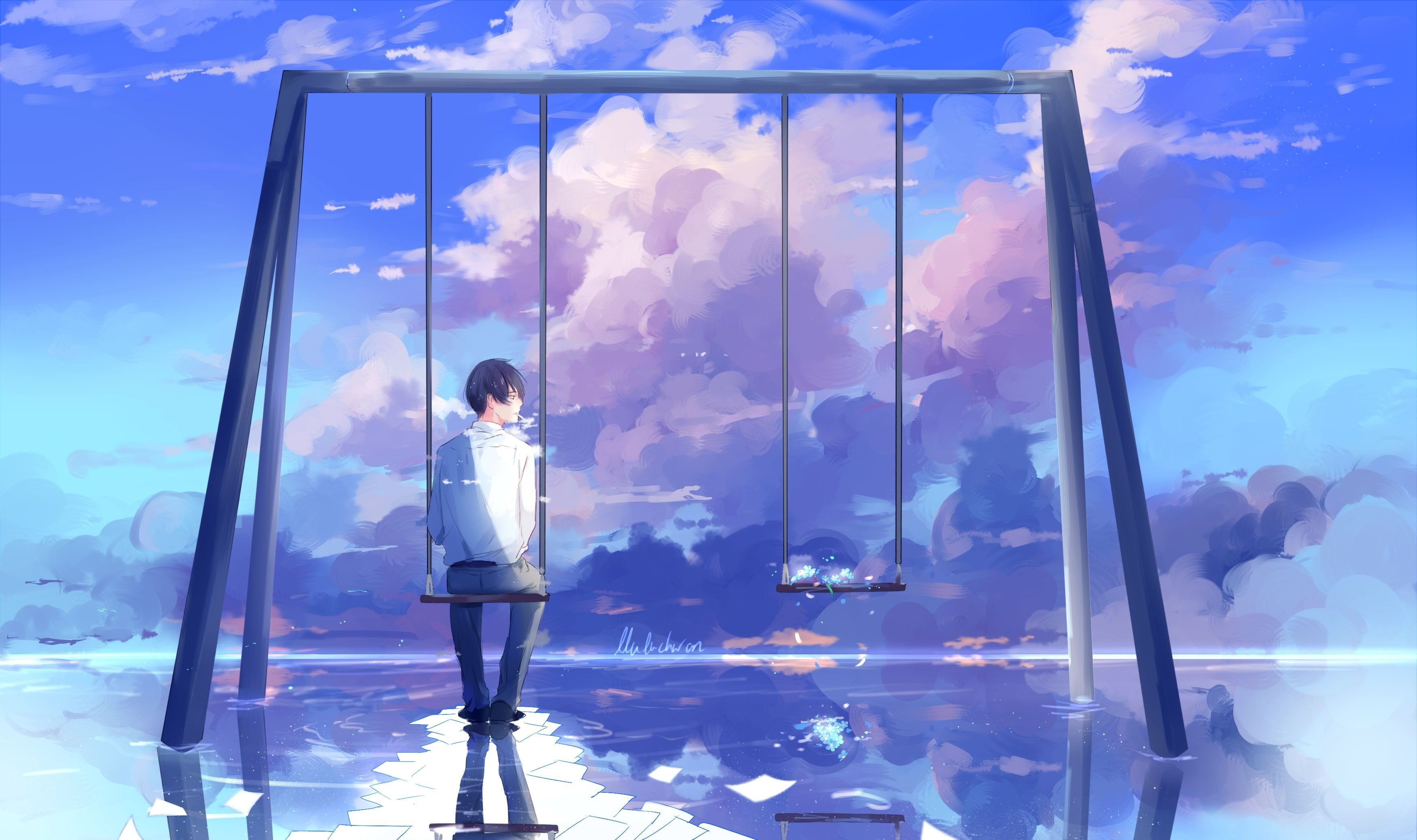 anime boy scenic swing clouds back view reflection