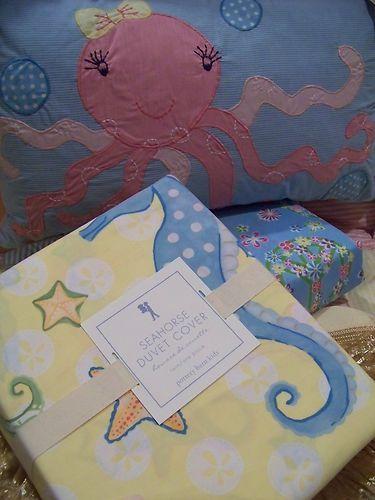 New Pottery Barn Kids Lahaina Mermaid Seahorse Surf Twin
