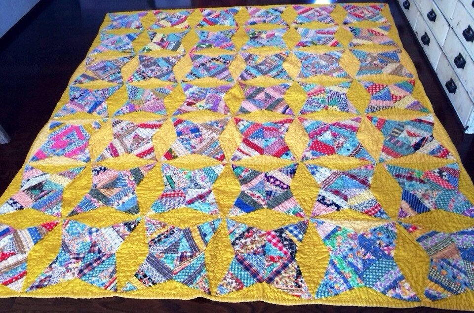 Vintage Handmade Quilt, Mustard Yellow with Multicolored Diamonds/Stars, Mustard Yellow Backing, Blanket/Throw by eddysmercantile on Etsy