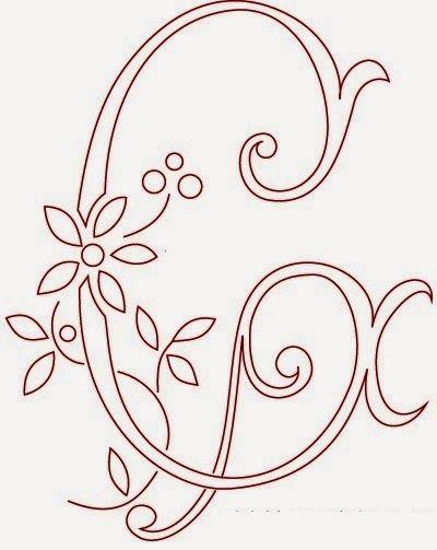 G flower calligraphy monogram tattoo stencil