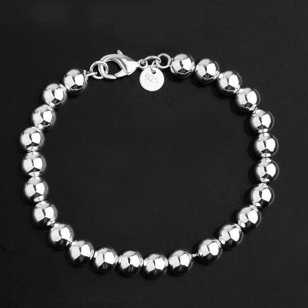 Silver 8mm Beaded Bracelet US$11.00