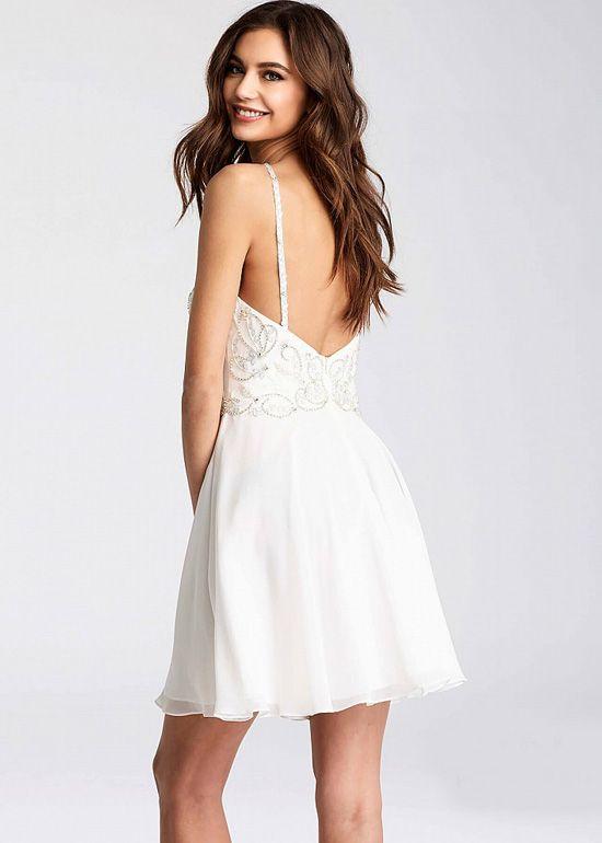 136618b53075 Flowy White Chiffon Embellished Bodice Halter Top Short Homecoming Dress