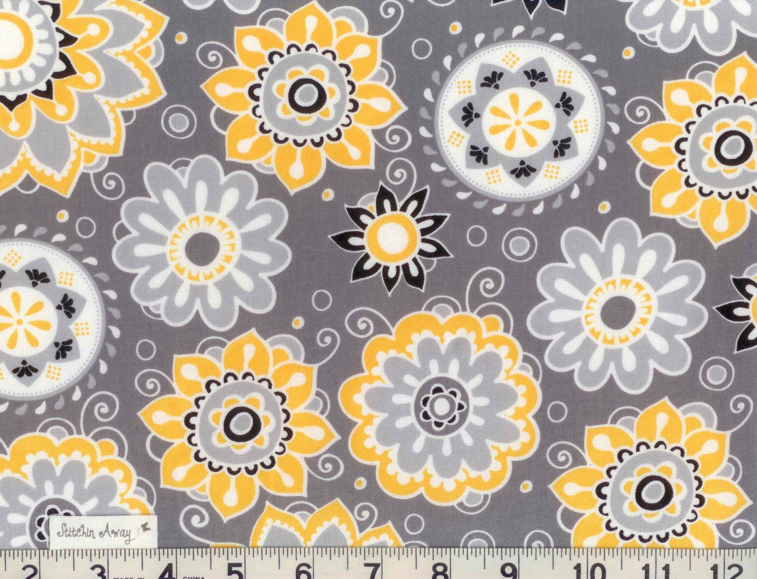 YELLOW, WHITE and BLACK, and Gray Floral Fabric New 100% Cotton ...