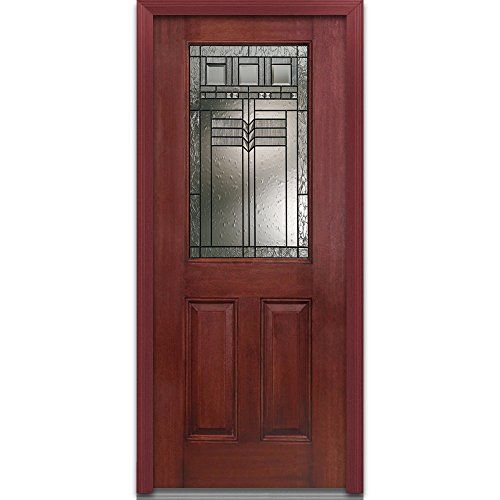 Amazon Com National Door Company Efm684kpp28rhwch Fiberglass Prehung Right Hand Inswing Entry Door Oak Park Decorative G Entry Doors Glass Decor Door Company