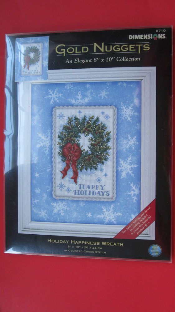 Dimensions Holiday Happiness Wreath Counted Cross Stitch Kit #8719 Gold Nuggets  #Dimensions #Frame