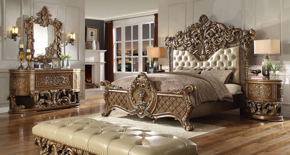 Fit For Royalty An Absolutely Beautiful And Unique King Size 5 Piece Bedroom Set For A One Of A Kind Look Approxi Luxury Bedroom Sets Bedroom Set Bedroom Sets