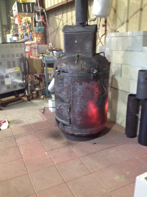 Bertha Waste Motor Oil Heater Running At Temp Oil Heater
