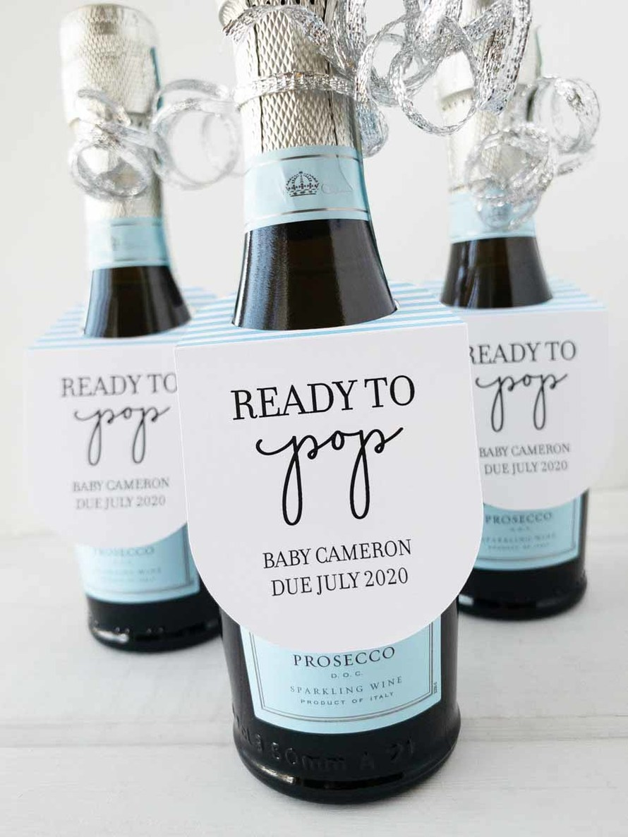 Custom Baby Shower Favor 187 ml Bottle Labels Ready To Pop Blue Personalized Baby Shower Mini Wine Labels Drive By Shower Party Favor