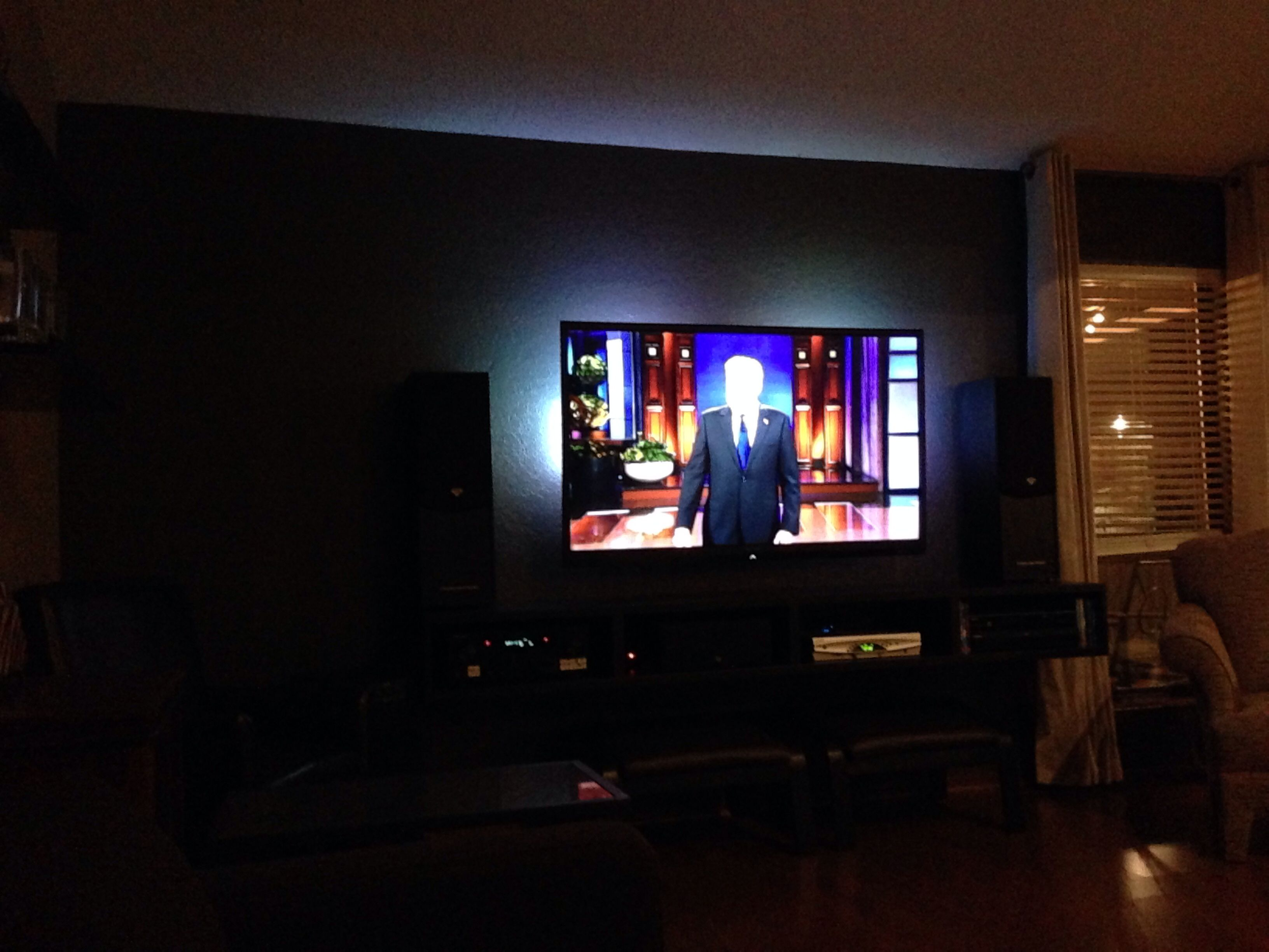 My Dark Gray Tv Wall With Led Lights On Back Of Set Dark Walls House Rental Tv Wall