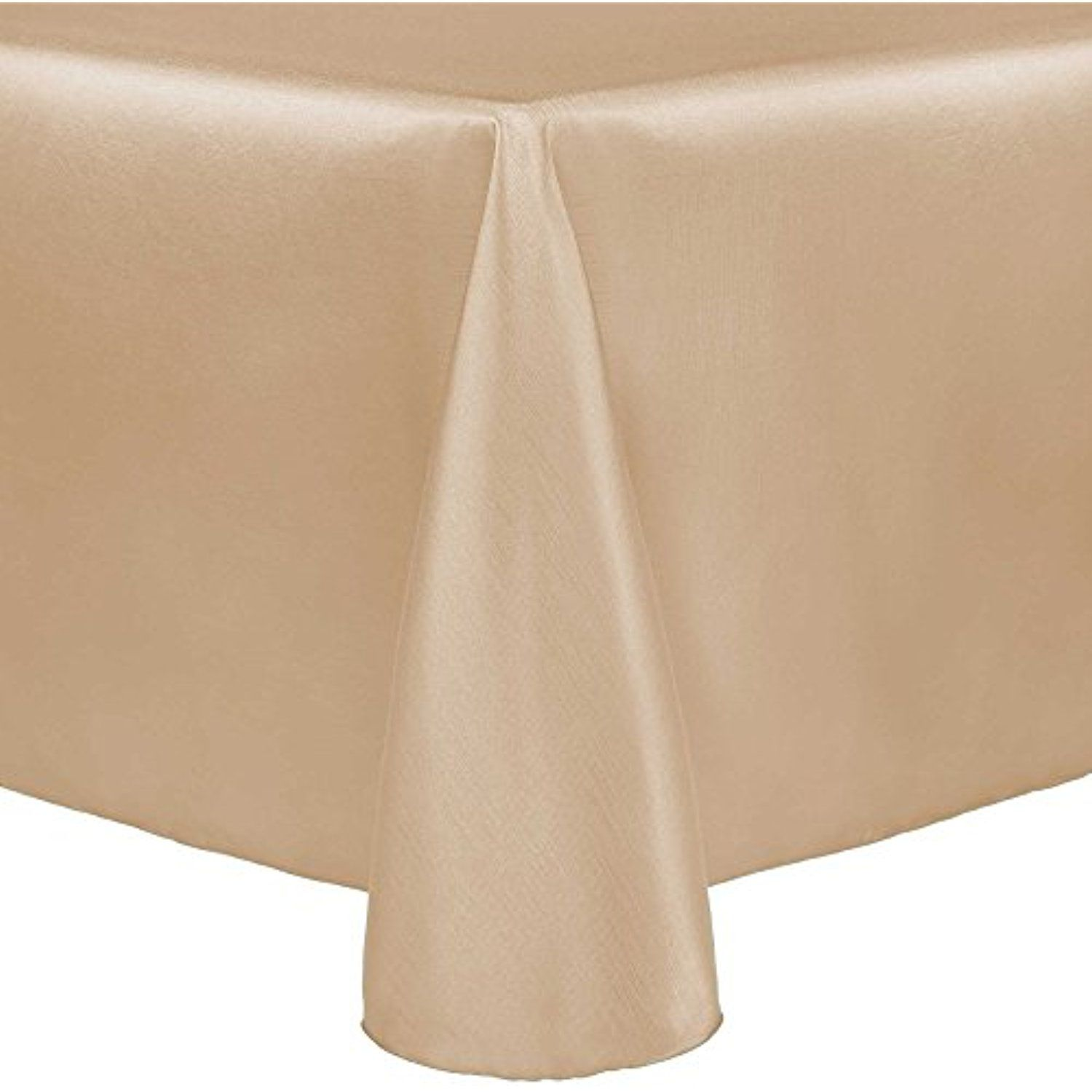 Ultimate Textile Reversible Shantung Satin   Majestic 72 X 120 Inch Oval  Tablecloth Camel Light