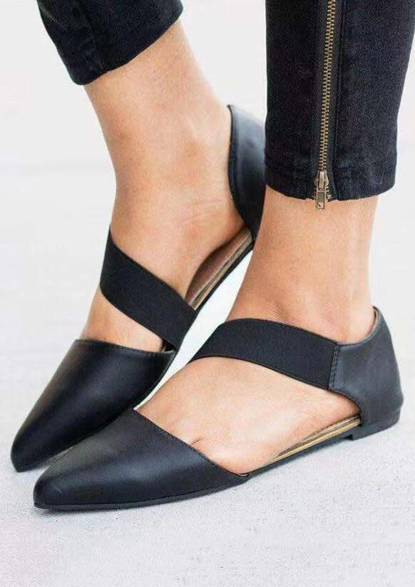 Solid Pointed Toe Flats - Black Flats Solid Pointed Toe Flats - Black Flats   Free Shipping & 30 days Easy Return.