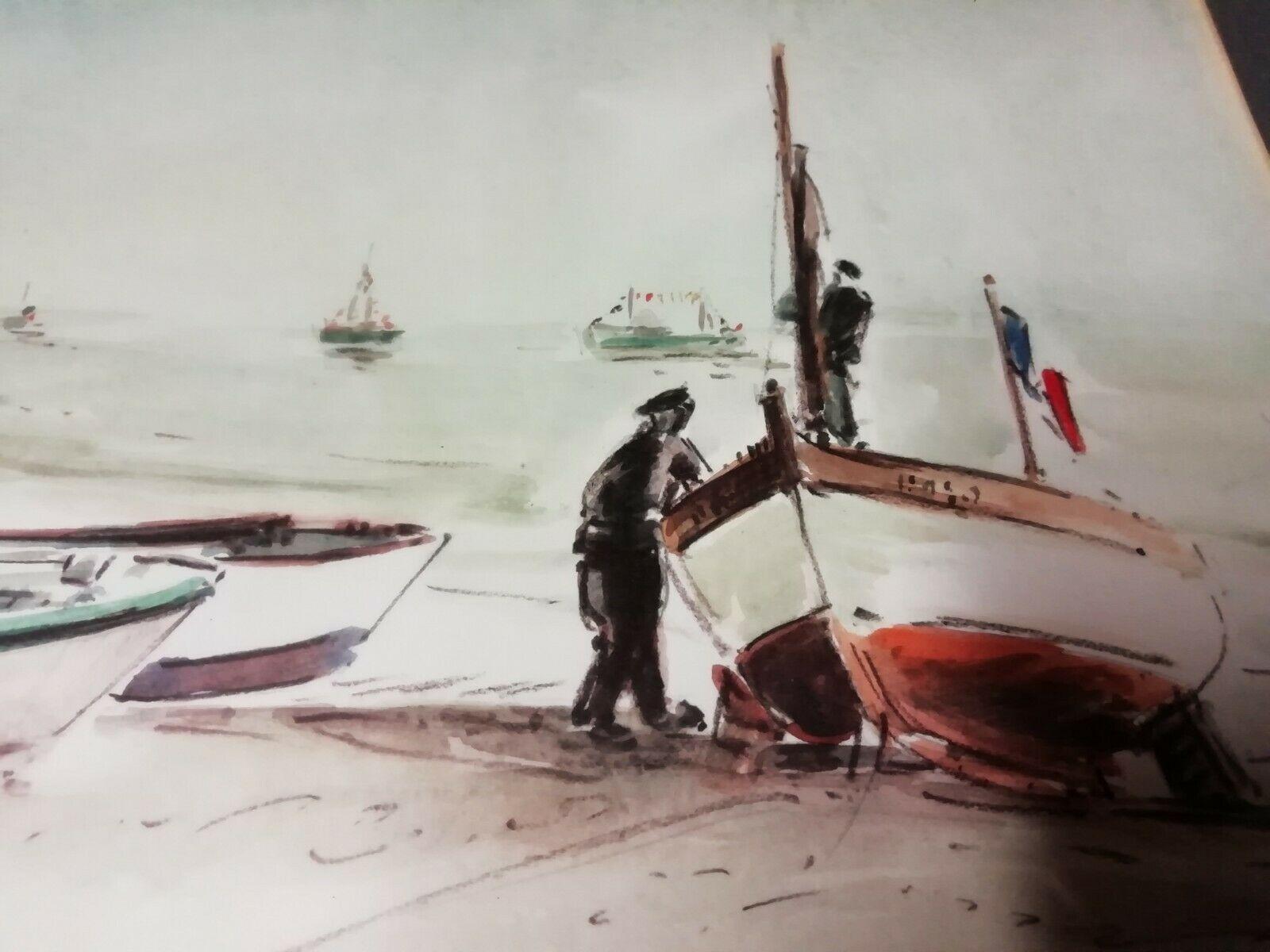 Tableau Aquarelle Retour De Peche Signee Jp Trullier A