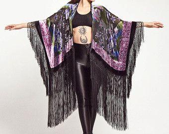 Velvet Fringe Kimono English Rose by shevamps on Etsy