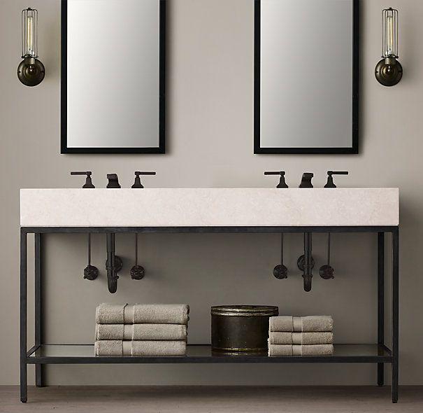 Hudson Metal Double Frame Washstand for BarnApt over GarageGuest – Metal Bathroom Cabinet