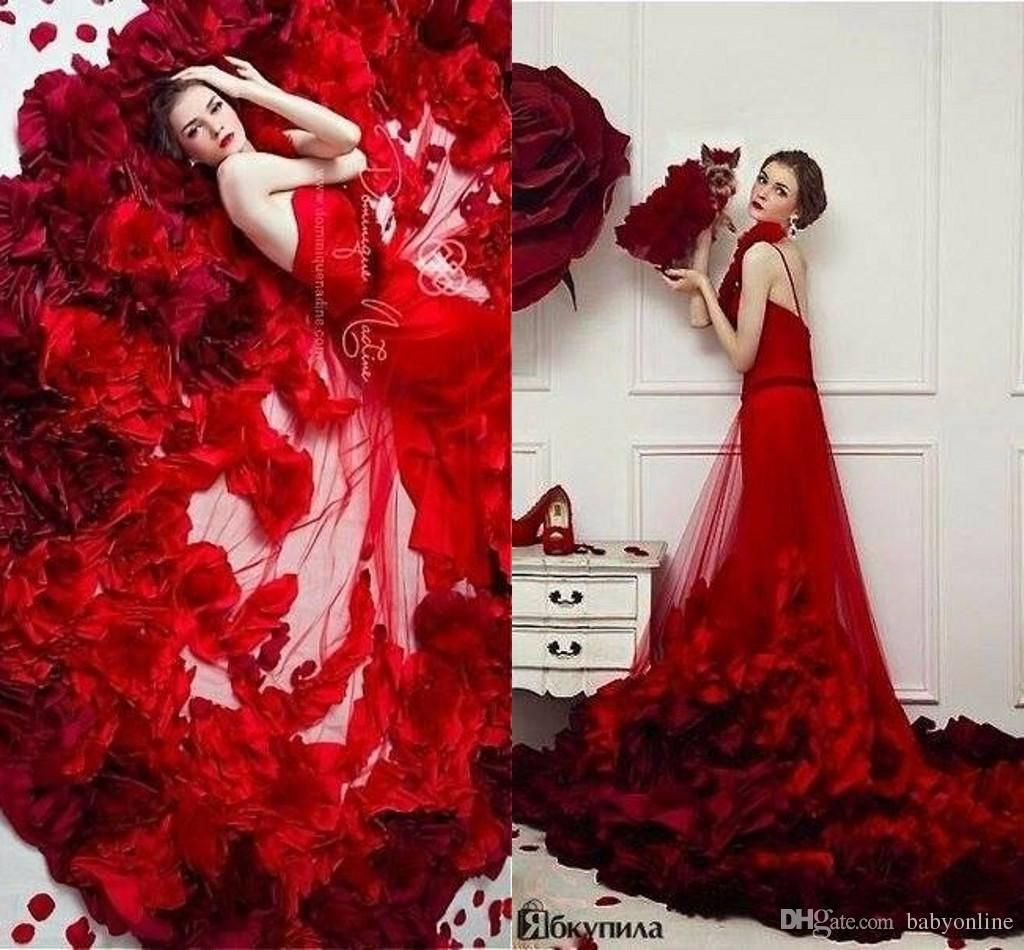 Delicate red rose floral long over skirt prom dresses romantic