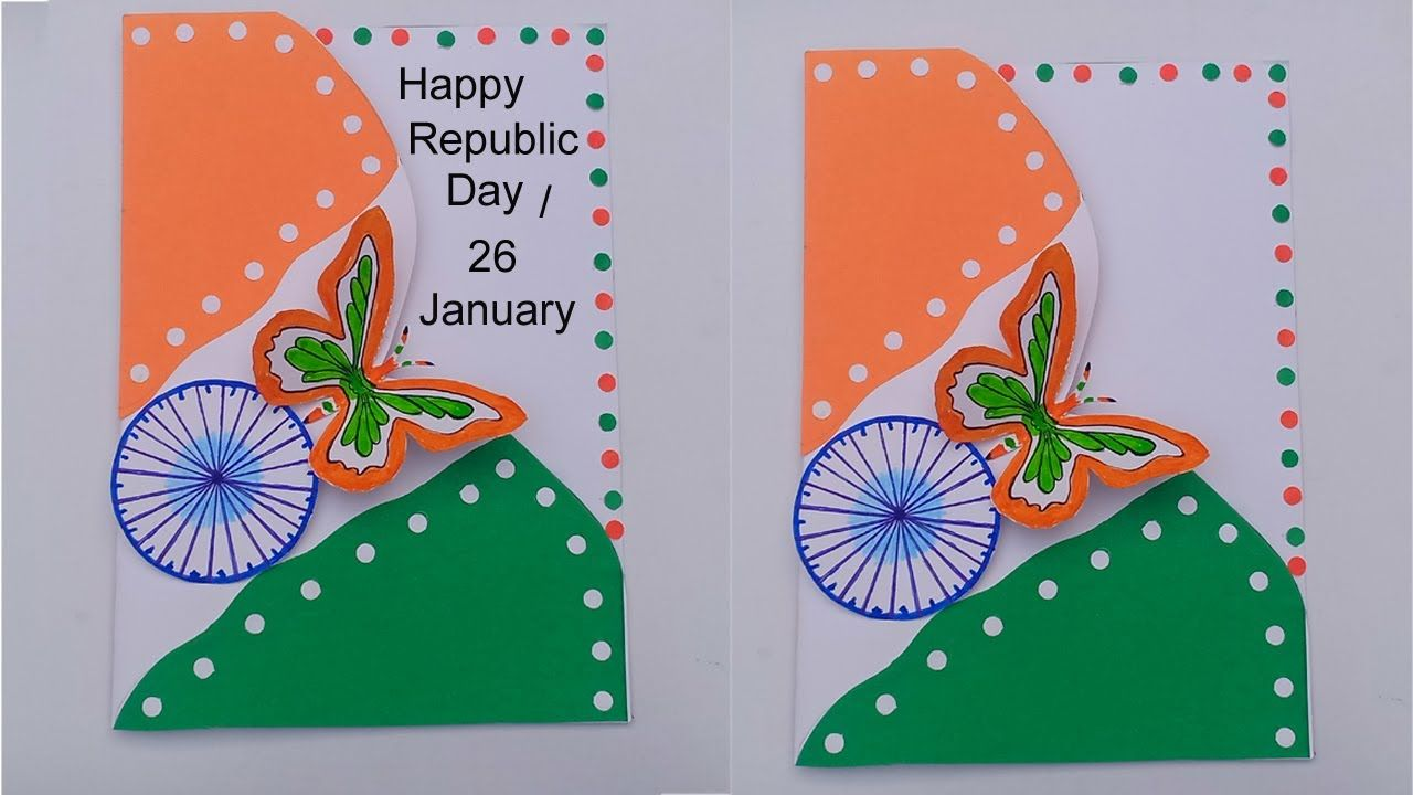 Republic Day Card Tricolor Butterfly Greeting Card Diy Art And