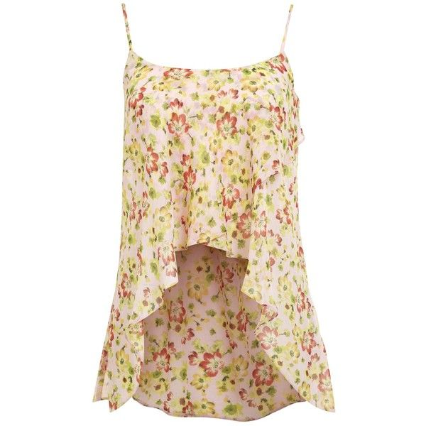 Miss Selfridge Floral Wrap Cami Top, Pael Pink (285 RUB) ❤ liked on Polyvore featuring tops, tank tops, tanks, floral tank, floral tops, sleeveless tops, sleeveless tank tops and spaghetti-strap tank tops