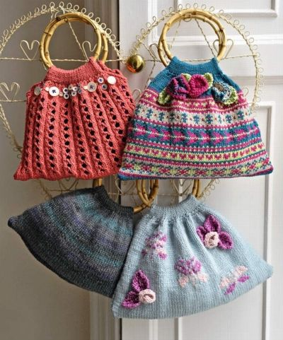 Four knitted bags – one lace, one Fair Isle, one plain and one with intarsia butterflies and knitted flowers sown on. Designed by Amanda Jon...