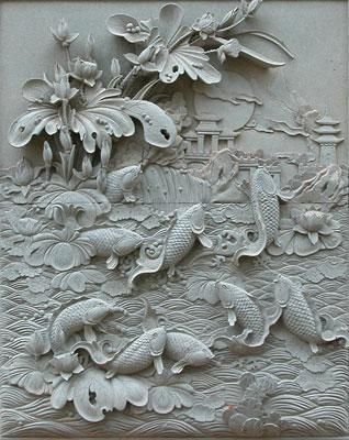 Hand Carved Marble Relief Panel With Koi Fish đieu Khắc Mỹ Thuật Nghệ Thuật