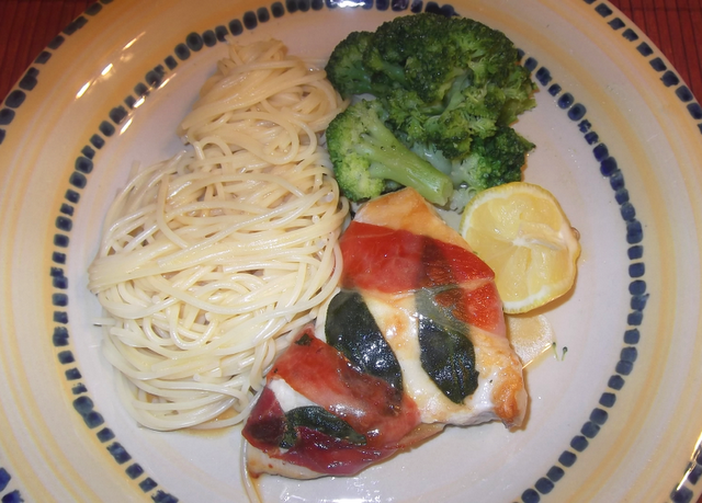 lemony chicken saltimbocca from Cooking Light (Mention - Christiane Potts, The Mom Chef - Taking on Recipes One Magazine at a Time)