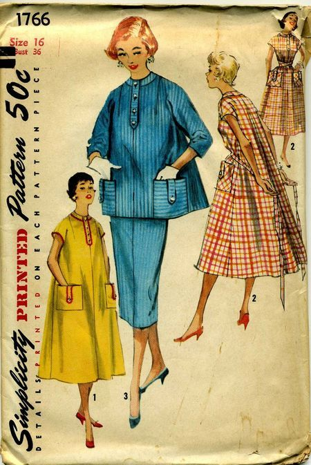 2a11ea53e00 Simplicity 1766  ©1956  One-Piece Maternity DRess and Two-Piece Suit in  Junior and Misses  Sizes  To wear while-you-wait and later on too. Dress